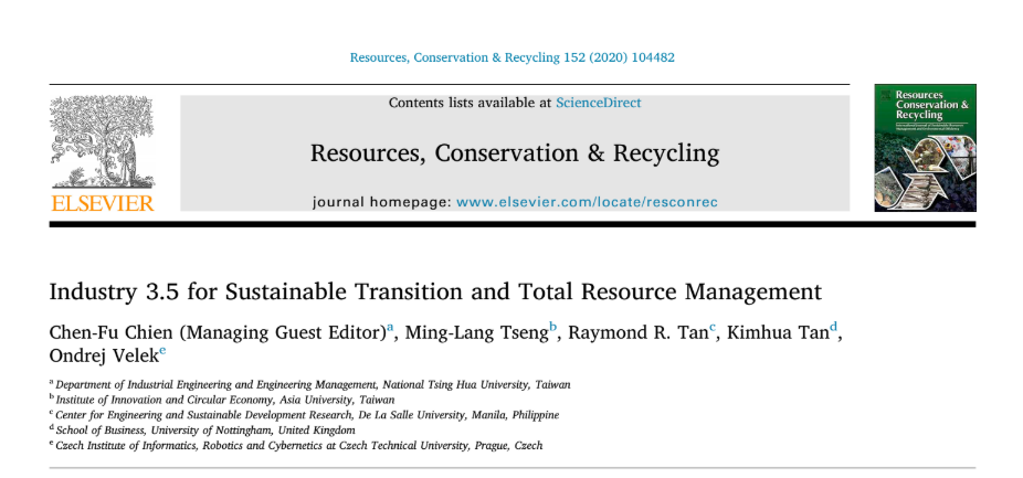 CfP – Industry 3.5 and Sustainability